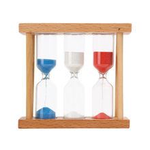 1minute 3minutes 5minutes Three Colors Wood Frame Glass Sand Hourglass Timer Clock Home Desk Tabletop DIY Decor Gift