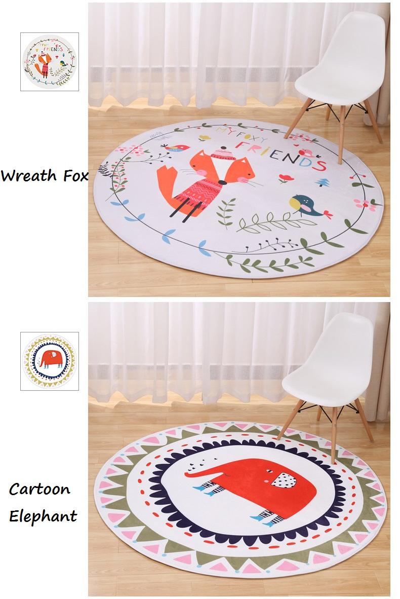 New Lovely Animal Round Carpet Diameter 60 80 100 120CM Super Soft Coral  Fleece Living Room Carpet Children Kids Bedroom Mat Rug - us94 17ad116687