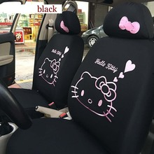 Cute hello kitty Car Seat Covers Four Seasons Cartoon Universal Seat Decoration Protector for Women Girls Car-Styling(China)