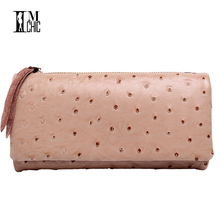 Genuine Leather Ostrich Pattern Women Wallets Vintage Real Cowhide Tri-fold Candy Color Long Purse Lady Billeteras mujeres 071