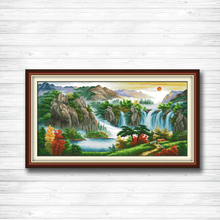 High mountains river sun mascot 14CT 11CT counted cross stitch Needlework Set Embroidery kits chinese cross stitch Home decor