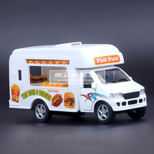 High Simulation Exquisite Baby Toys New and Original Ice Cream Truck Catering Truck Model 1:36 Alloy Truck Model Excellent Gifts