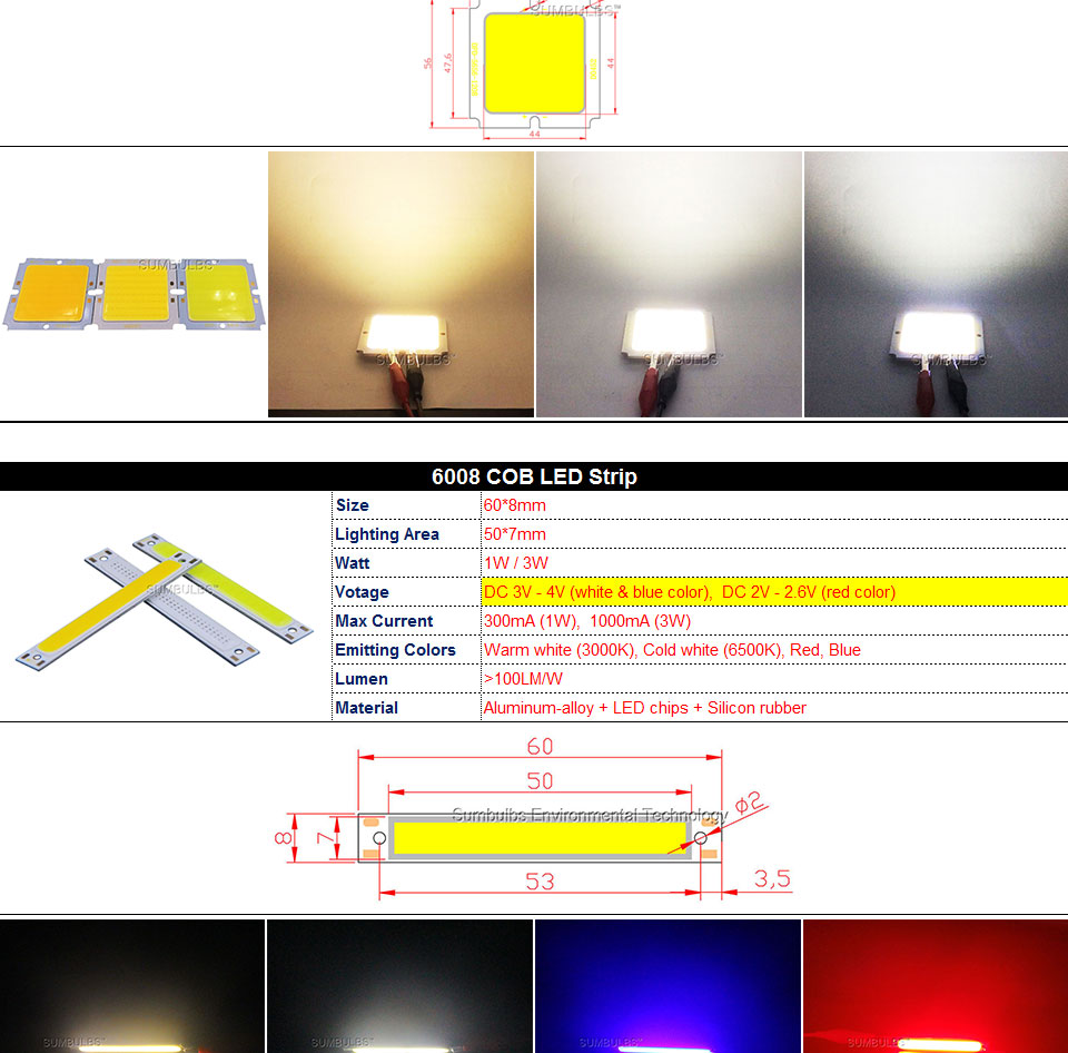 COB LED Strip Light Lamp Bulb 10W 20W 30W 50W Warm Natural Cold White Blue Red Chip On Board LED Matrix Lighting 1-50W (2)