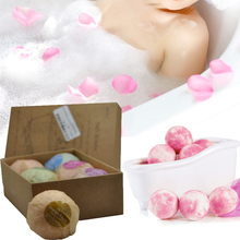 6 pcs Bath Bombs Rose Red Smell Pack of 6 Oil Sea Salt Handmade Bath Bombs Set(China)