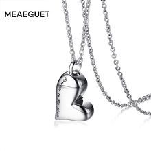 Meaeguet Stainless Steel Heart Urn Pendant Cremation Ashes Necklace For Women Memory Personalized Keepsake Accessories(China)