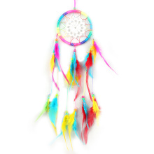 Colorful Feather Native Handmade Dream Catcher with Beads Indian Art Home Room Grden Decoration Ornaments