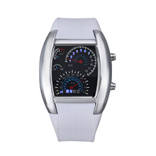Unique Design Mens Lady Sports Car Meter Pattern Aviation Turbo Dial Watches Men Flash LED Digital Watch Women Sports Wristwatch