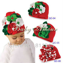 Retail Hot 2014 Girl's Fashion Handmade Flower Knit Baby Christmas Top Hats Bebe Infant Beanie Kid Hair Accessories Newborn Gift(China)