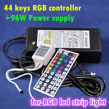 12V 8A Power Supply + 44 Key LED IR Remote Controller Mini RGB Control Box Widely Using for RGB LED Strip Light SMD5050/SMD3528
