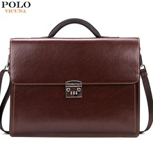 VICUNA POLO Luxury Famous Brand Password Lock Leather Bag Men Briefcase Business Office Bag Leather maleta Large Man portfolio