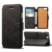 For iPhone 7 Case Leather Wallet Flip Cover Vintage Calf Pattern Mobile Phone Pouch Case for iPhone 7 Plus Bags With Card Holder(China)