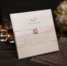 Handmade Pink Wedding Invitations Personalized Evening Invites With Photo Ribbon and Rhinestone Included  NK-370 free shipping