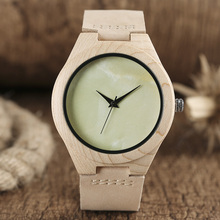 Light Green No Word Dial Wood Watch Whitening Bamboo Minimalist Analog Genuine Leather Novelty Clock Online Reloj de madera 2017(China)