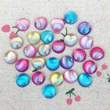 100Pieces Mixed Color Flatback Flat Back Resin Cabochon Kawaii Resin Craft Decoration Shell Line AB Color DIY Embellishment:10mm