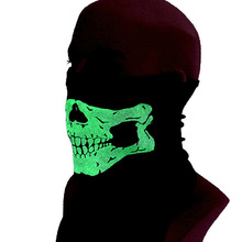 Skullies Face Mesh Skull Neck Scarf Mask Collar Outdoor Sports Dustproof Neck Bandana Turban Magic Scarves Luminous Neckerchief(China)