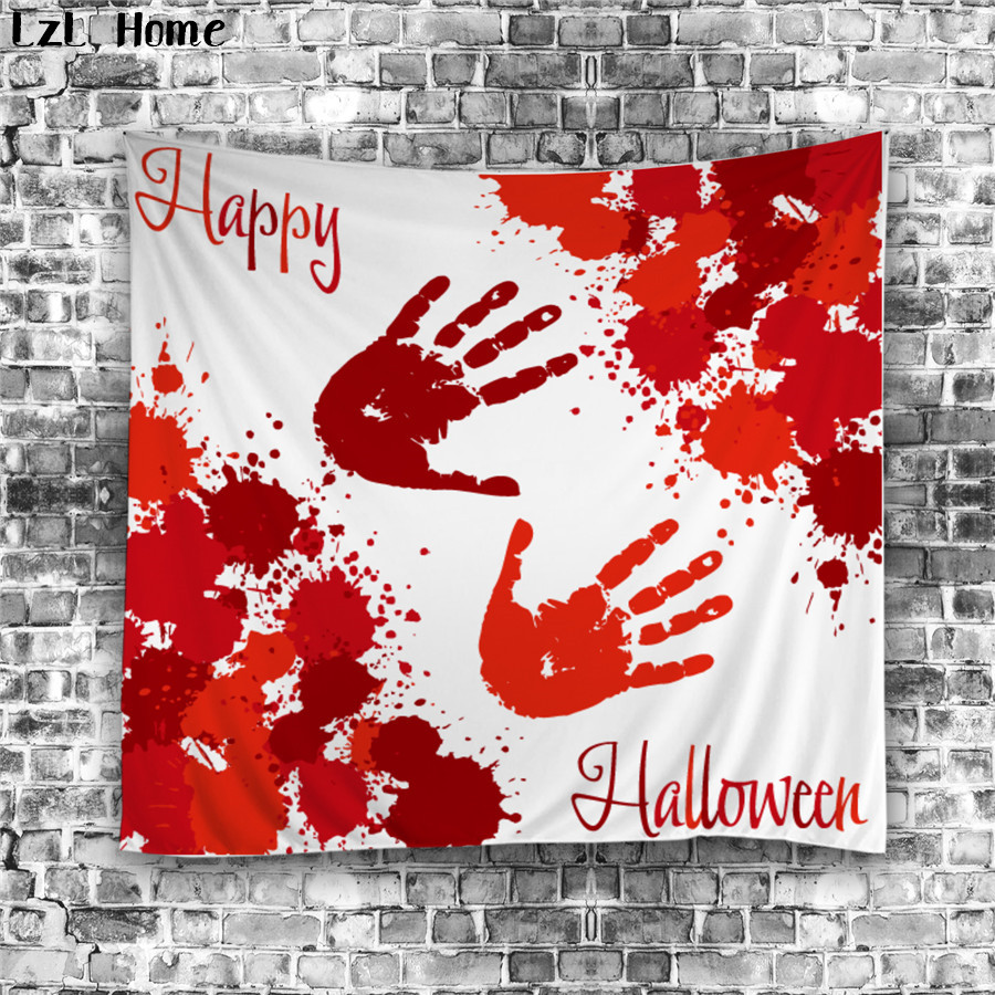 lzl home 3d halloween tapestry blood palm print skull mandala wall hanging tapestries yoga mat dorm cover blanket wall carpet