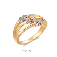 New  Fashion Zircon Ring Bling Cherry Crystal Anillo Gold Hot Plated Rings Wedding Engagement Party Ring Jewelry Women