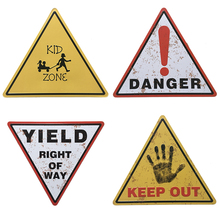 Triangle Public Area Metal Tin Signs Retro DANGER KEEP OUT Decorative Plaque Wall Decor Warning Sign Board Art Craft Plaques(China)