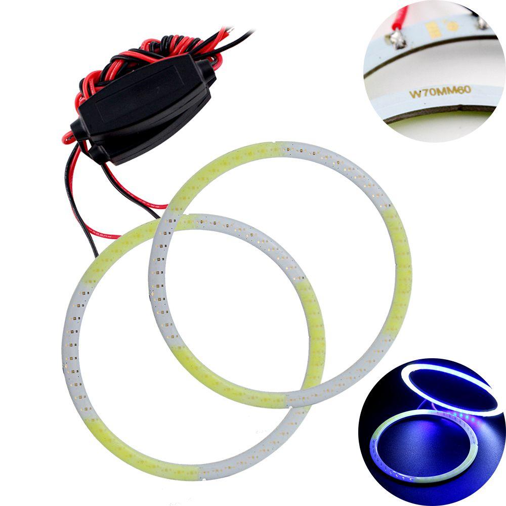 4PCS(2Pair) COB 70mm Auto Halo Rings Angel Eye COB Chip Headlight 60SMD Car Angel Eyes Motorcycle White+Blue Color 12V 24V<br><br>Aliexpress