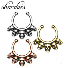 Unisex Vintage Punk Gothic Rock Skeleton Skull Fake Piercing Plug Septum Nose Stud Open Hoop Ring Body Jewelry J08V002