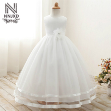 Infant Princess Girls Flower Long Evening Dress Children's Girl Ceremony Dresses Wedding Tulle Formal Teenage Girl Party Dress