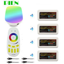 PIEN WiFi Controller led mi light hub+ RF touch 4 Zone remote+4pcs 2.4G Controller for Strip RGB RGBW RGBWW 12V-24V Free ship
