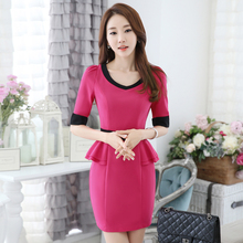 Spring Summer Fashion OL Styles Novelty Summer Dresses Beauty Salon Professional Ladies Office Work Wear Elegant Dress Tops