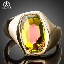 AZORA Latest Brand Design Gold Color Gradient Bright Color Stellux Austrian Crystal Ring TR0140