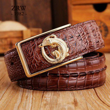 2017 brand new all-matched men's gold belt cowboy classic crocodile stylish belts men smooth buckle waist strap jeans(China)