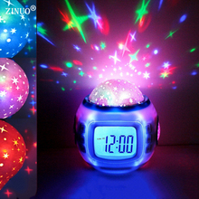 ZINUO Children LED Night Light Music Starry Star Sky Led Projection Lazy Projector Alarm Clock Calendar Best gift For Kids(China)