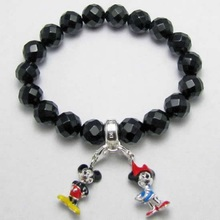 Thomas Style Faceted Obsidian Beads Charms Bracelet with Mickey Minnie Mouse Charms TS Bracelets Jewelry in Silver For Women