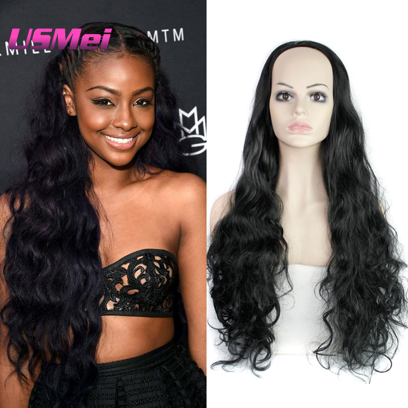 New Hair Accessory Black Color Deluxe Wig African American Hair Braiding Styles 33 Body Wavy Natural Black Half Synthetic wigs<br><br>Aliexpress