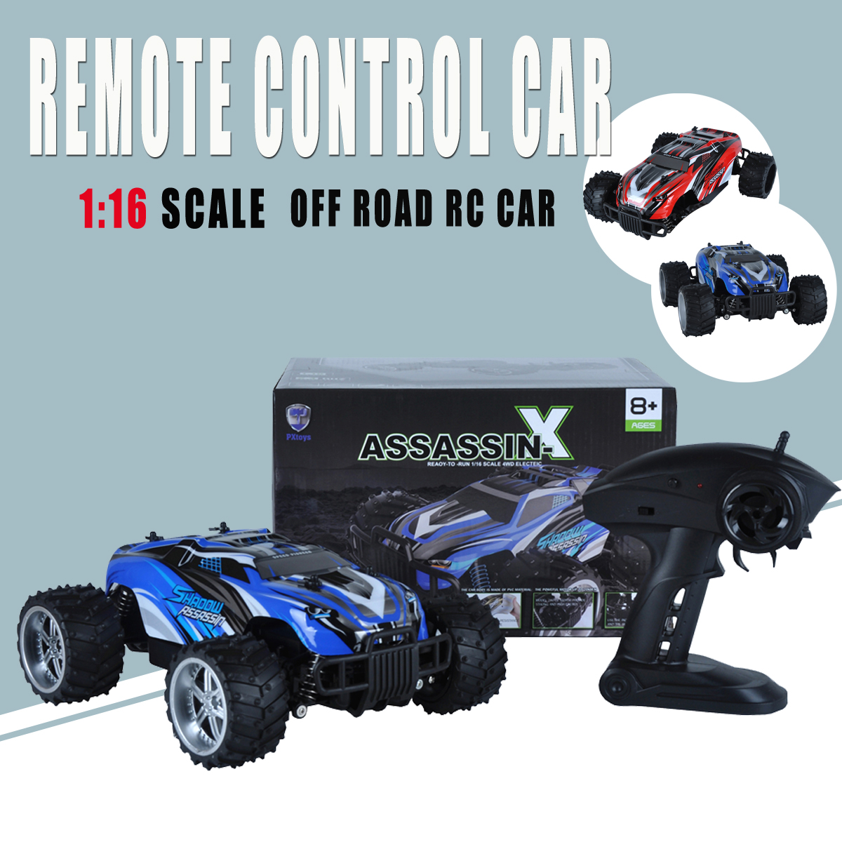 1/16 RC Monster Truck 2.4Ghz 4WD Off-Road Brushed Remote Control Car Truck Buggy Off-Road Toys Kids Suprise Gifts