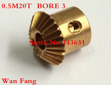 2PCS Bevel Gear 20T 0.5 Mod M=0.5 Modulus Ratio 1:1 Bore 3mm Brass Right Angle Transmission parts machine parts DIY(China)