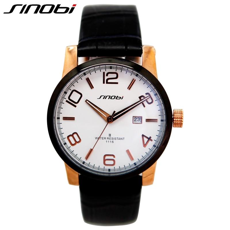 SINOBI Casual Mens Watches Complete Calendar Leather Band Multifunction Watch Men Waterproof 10 ATM Gentleman Relogio Masculino<br>