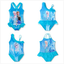 3-10Y Baby Girls Swimsuit One Piece Bikini Cute Anna Elsa Princess Dress Cartoon Pattern Bathing Suits Swimwear Bikini Bodysuit