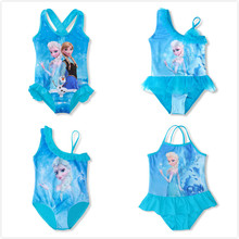 3-10Y Baby Girls Swimsuit One Piece Bikini Cute Anna Elsa Princess Dress Cartoon Pattern Bathing Suits Swimwear Bikini Bodysuit(China)