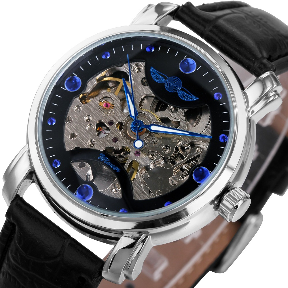 Top Fashion Mens Automatic Watches WINNER Brand Male Mechanical Skeleton Wrist Watches Leather Watchband Luminous Hands<br><br>Aliexpress