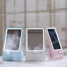 Two In One Touch Screen Folding Portable Pocket LED Cosmetic Mirror Desk Lamp Nano Ion Skin Water Replenishing Sprayer