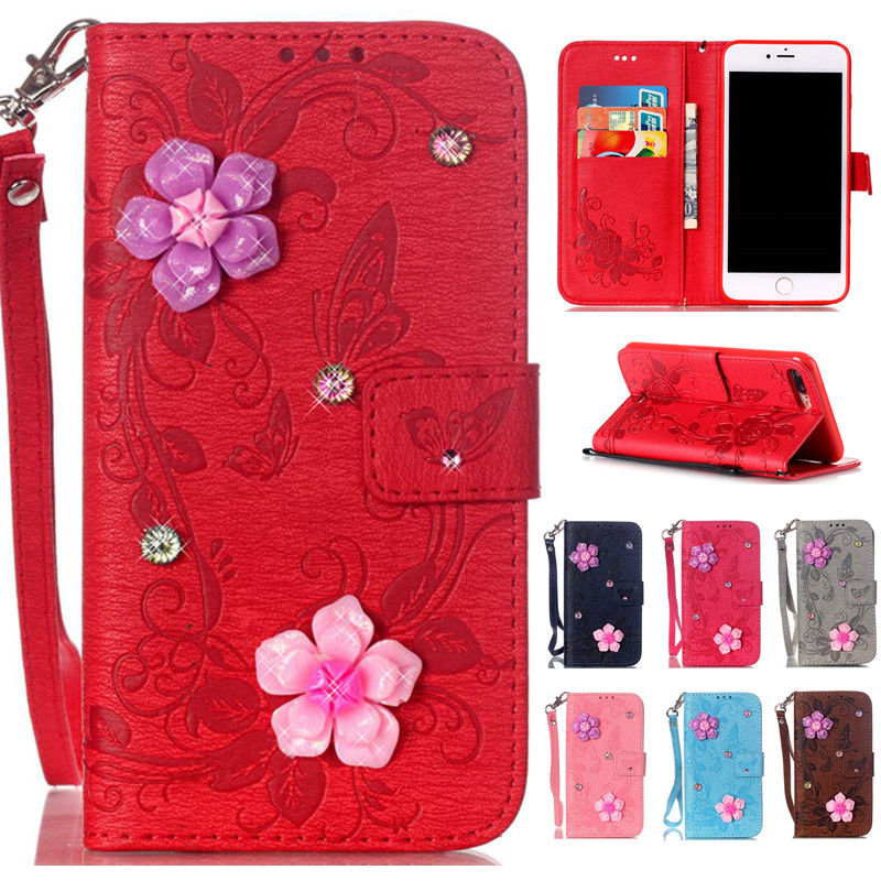 iPhone7 7plus Wallet Flip PU Leather Case Apple iPhone 7 7 Plus Phone Bag Butterfly 3D Flowers Cover Cases Fundas Capa