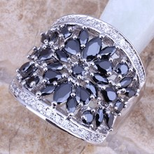 Black Cubic Zirconia White CZ 925 Sterling Silver Ring For Women Size 5 / 6 / 7 / 8 / 9 / 10 / 11 / 12 S0179(China)