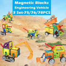 75-78PCS Magnetic Designer Building Blocks Construction Engineering Truck DIY Model Kits Educational Assemble Magnet Bricks
