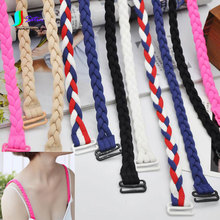 Candy Colors Hand Weavied Personalized Twist Pigtail Bra/Anti-slip Underwear Shoulder Strap Elastic Band,Length 28CM S0019J(China)