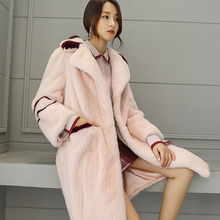 Genuine mink fur coat women pink coat winter real fur coats high end luxury marten fur jacket high quality mink coat NPI 71217F(China)