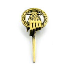Wholesale 2pcs a lot Game of thrones Brooch Song of ice and fire Vintage Punk Hand of the King Pin for Men and Women 2 Color