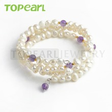 FBR142 Topearl Jewelry 6-7mm Nugget White Pearls Bangle Bracelet with Amethyst Beads