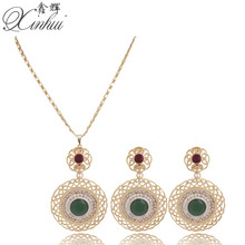 Red Blue Stone Round Necklace Vintage Women Necklace Earrings Jewelry Sets Crystal Rhinestoe African Party Jewellery Costumes