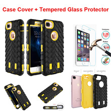 For iPhone 4S 5S 5C SE 7 6 6S Plus  iPod Touch 5 Free Tempered Glass Case Silicone Tire Hard Plastic Heavy Duty Armor Case Cover