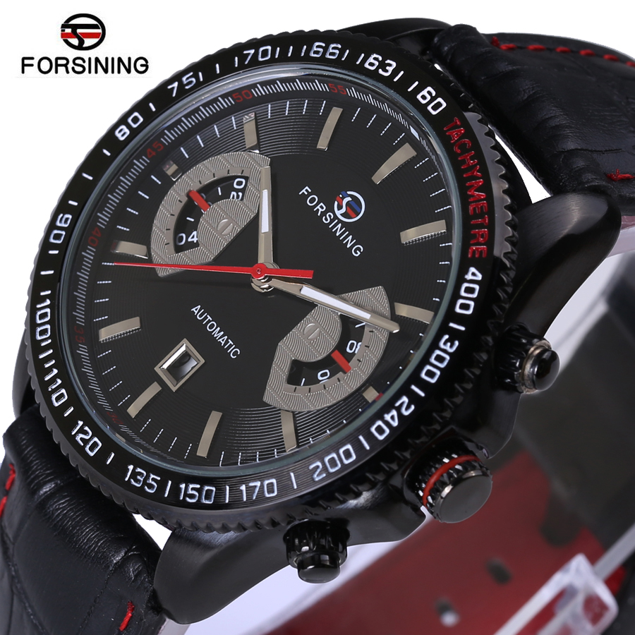 Forsining Automatic Mens Watches Top Brand Luxury Genuine Leather Strap Men Watch Mens Date Clock Male Sport Military WristWatch<br>