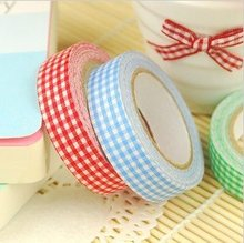 Hot selling  Colorful Check Fabric Tape .Printed Plaid Decoration stice label .Adhesive Tape.retail great deal LL-926